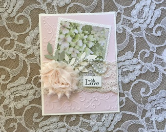 """Handmade Greeting Card: 5""""x6.5"""", fancy victorian, shabby chic, pink, Mothers Day, Wedding, Birthday, with love"""