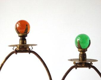 Antique Lamp Finials Brackets Set of Two Brass Glass Amber Green Hand Blown Antique Lamp Parts Lighting Bohemian Decor