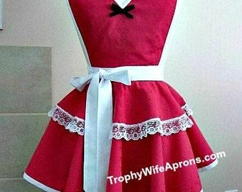 Apron # 4057 - Raspberry eyelet sassy retro apron