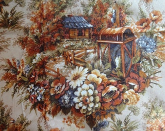 """5 1/2 yards vintage upholstery craft fabric """"Lantern"""" by Irene for Regency Mills shabby cottage fabric"""