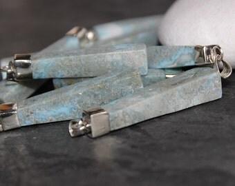 Larimar Natural Stick Long Pendant , Sterling Silver