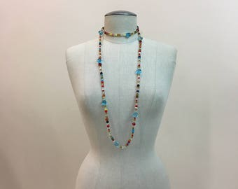 Vintage 1930s 1940s CZECH Mardi Gras glass Beads - long Czechoslovakia Beaded rope style Necklace