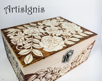 Rose Garden Jewelry Box, Trinket box, Treasure box, Pyrographed by hand, Wood Burned box, Keepsake box, Woodburned Floral Box