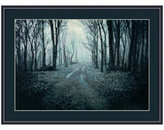 Cross stitch kit Mysterious Fog, forest, mist, fog, Halloween