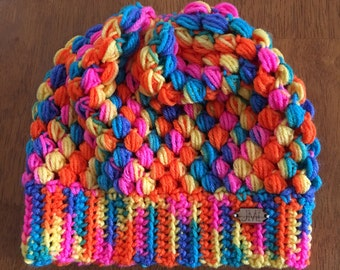 The Puff Beanie - rainbow color slouchy beanie, hat, winter accessory, perfect gift for women, teens, mom, daughter, sister