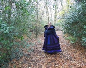Full length plus size coat in shades of black and purple with velvet and black faux fur trims.  XL - XXL