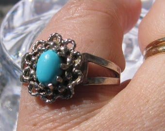 Turquoise and Sterling Silver SARAH COVENTRY Signed Ring, Size 9.25, Retro