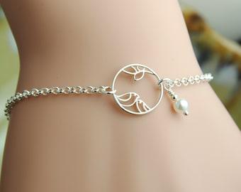 Bird Bracelet, Personalized Bracelet, Sterling Silver Two Bird Bracelet, Birthstone Bracelet, Initial Bracelet, Birds Tree, Nature  WB113
