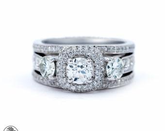 Diamond Engagement Ring, Double Halo Engagement Ring,Engagement Ring W/Halo, Three Diamonds W/Halo,14K Gold engagement Ring   LDR02172