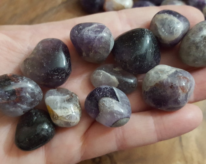 Black Amethyst ~ 1 medium reiki charged tumbled stone approx .8-.9 inches