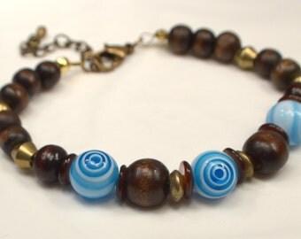 Dark Brown & Turquoise Bracelet, Wood Bead Bracelet, Boho Wood Bracelet, Blue Bracelet, Turquoise Bracelet, Gift For Her (B98)