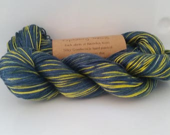 Exploding TARDIS - hand painted lace weight silk yarn