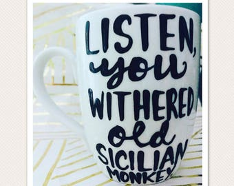 Golden Girls coffee mug- listen you old withered sicilian monkey-Blanche Rose Dorothy Sophia- Stay Golden- Thank you for being a friend