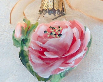 Coral Rose Heart Ornament ~ Handpainted Rose ~ Handpainted Roses ~ Coral Rose ~ Valentines Ornament ~ Cottage Chic