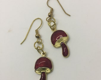 Vintage Charm 70s Mushroom Shroom Red and Gold Dangle Earrings by oldmanwithers