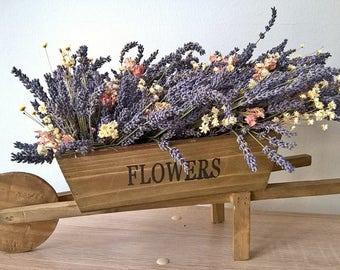 Dried Lavender Arrangement In Wooden Cart - Spring Decoration - Country Arrangement