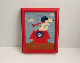 Vintage Peanuts Snoopy Red Baron Framed Needlepoint Wall Art