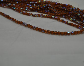 Authentic Czech Fire Polished 4mm Topaz with AB Luster Beads
