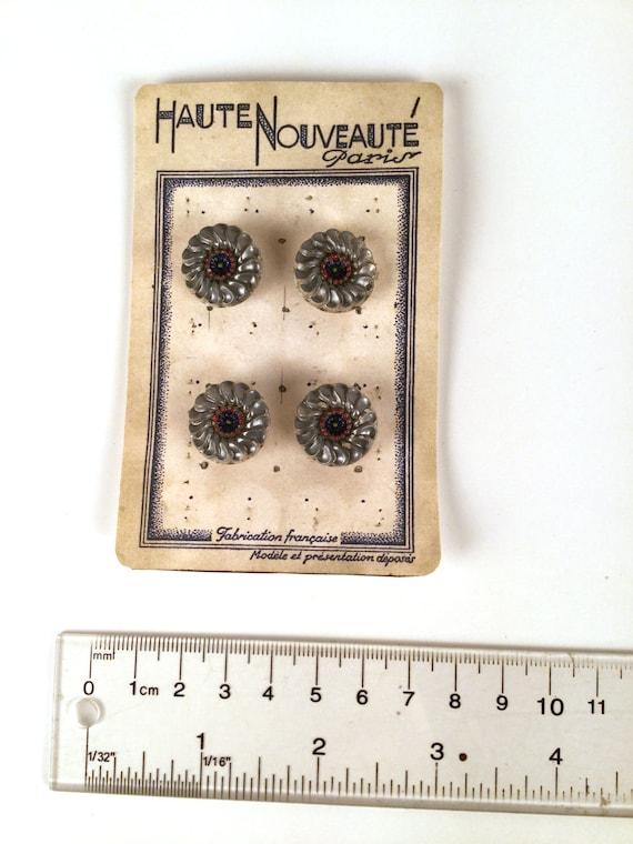 vintage 40s silver floral plastic buttons set of 4. Black Bedroom Furniture Sets. Home Design Ideas