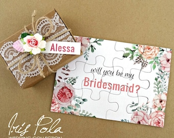 NEW Improved Thicker Puzzle, Bridesmaid, Puzzle, Lace, Rose Flower, Leaves, Burlap, Wedding, Favor, ECO, Paper, Will you be my Flower Girl