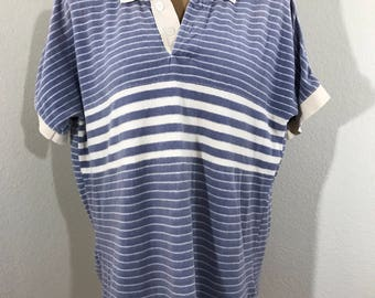 1980s Vintage GAP Blue And White Striped Soft Velour Top XL