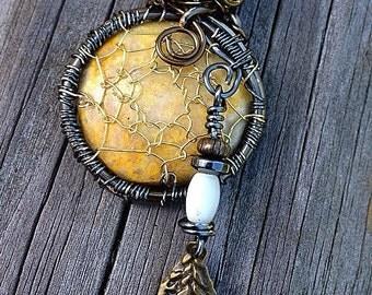 Golden Dreams Handmade Beaded Dreamcatcher Necklace