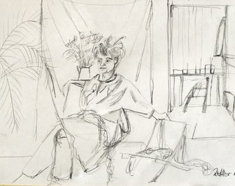 In the Studio, Original Drawing, Pencil Drawing, Female Figure in the Studio, Model in a Room