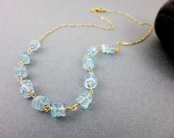 Aquamarine Chakra Necklace, 14K Gold Fill, Throat Chakra Stones, Blue-Green, Healing Crystals, Chakra Energy Jewelry