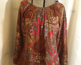 Shop closing Vintage blouse Paisley peasant blouse red brown peasant blouse Chaps blouse Size petite medium