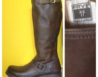Brown Frye Veronica Slouch Leather Riding Boot, Size 8