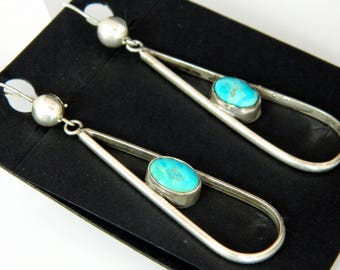 Old Pawn Navajo Natural Turquoise Sterling Silver Handmade native American Earrings 1970