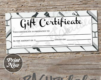 free printable hair salon gift certificate template - salon business card etsy