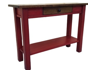 Hallway Table / Red Side Table / Antique Red / Pine Sofa Table / Rustic Pine Console Table
