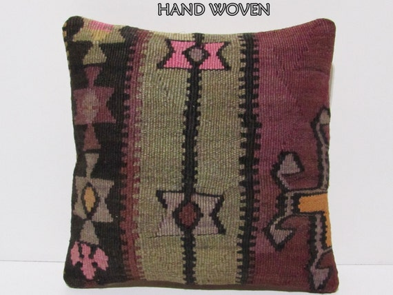 ethnic pillow sham 18x18 large floor pillow kilim pillow pink