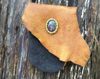 medicine bag suede and deerskin leather pouch with beadwork and ruby in zoisite gemstone bead