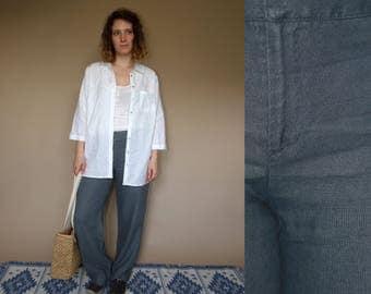 90's vintage women's gray linen wide leg pants