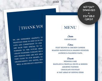 Navy Wedding Menu & Thank You Cards    INSTANT DOWNLOAD   Editable PDF  Do It Yourself   Printable