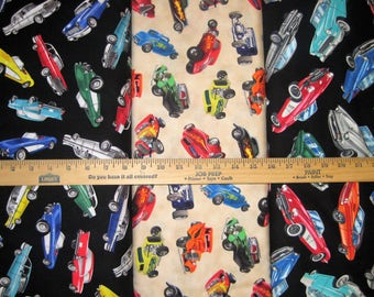 Classic Antique Cars and Route 66 Maps Cotton Fabric by Timeless Treasures! [Choose Your Cut Size]