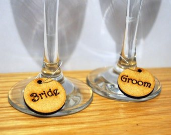 Personalised Wine Glass Charms Place Setting Laser wood Wedding