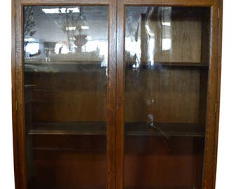 Antique Curio Cabinet, China Cabinet, Bookcase, Solid Oak, Circa 1920, PA4763 Shipping Not Free!