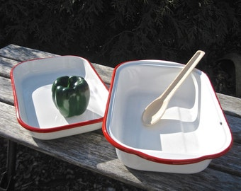 Vintage Enamelware 2-Piece Roaster • White Enamel Red Trim • Convertible Lid to Pan Rectangular Shape