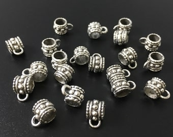 30pcs Antique Silver Bail Beads ,Large Hole Beads 8*9mm