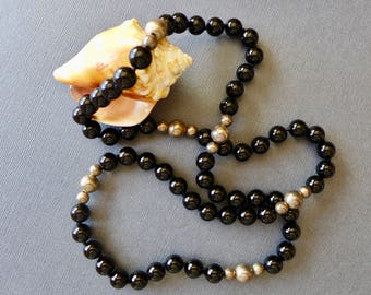 Vintage Black Onyx and Silver Beaded Necklace / 36 inches / Onyx and Silver Necklace/