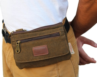 Biker's Tucker's  Canvas Hiking Loop Hanging i phone 6 plus & 7 Cover Pouch and Cross Body Bag Passport Holder