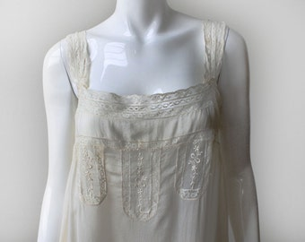 Vintage 1920s Lingerie Chemise Slip Dress with Lace Inlay, Medium/Large