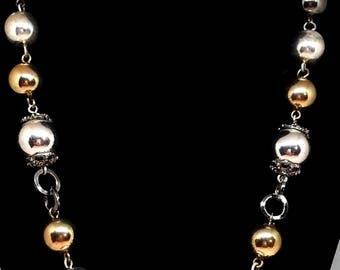Graduated Tri Color Metal Bead Necklace, Vintage Antique Gold, Silver & Gunmetal Costume Jewelry