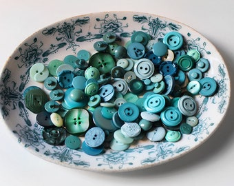 Vintage Buttons Mixed Set Jade & Turquoise Greens