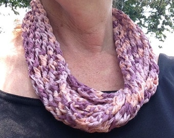 Knitted necklace scarf, gift for ladies,Autumn scarf pinks, scarflette, infinity scarf, lace scarf, scarf with button, accessories