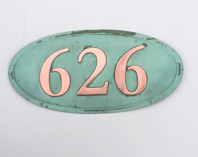 "Oval House number in patinated copper, 4""/100mm high numbers, Garamond font polished and laquered g"