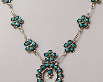 Native American Navajo Turquoise Sterling Silver Squash Blossom Link Necklace R M James 17""